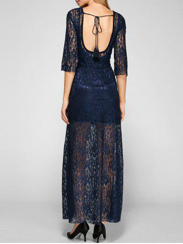 Unique Sheer Lace Backless Maxi Prom Evening Dress NAVY BLUE XL