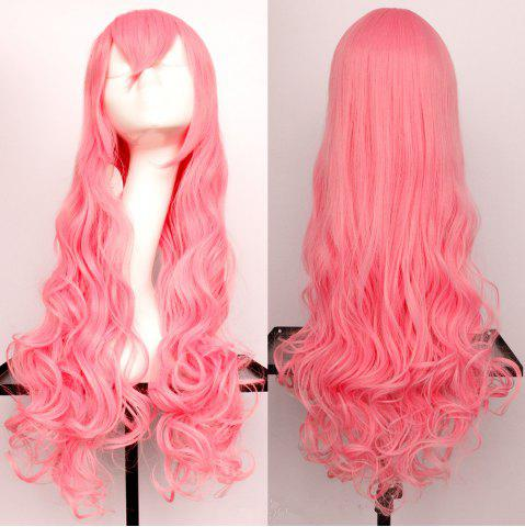 Buy Long Side Bang Wavy Synthetic Cosplay Wig ORANGEPINK