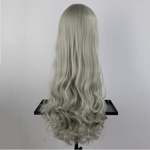 Unique Long Side Bang Wavy Synthetic Cosplay Wig - GREYISH BROWN  Mobile