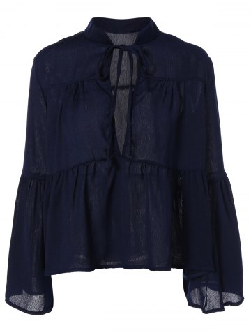 Store Flare Sleeve Plunge Neck Blouse DEEP BLUE XL