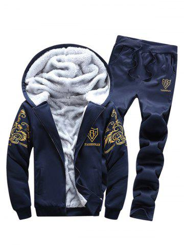 New Zip Up Flocking Hoodie and Drawstring Pants Twinset - 3XL DEEP BLUE Mobile