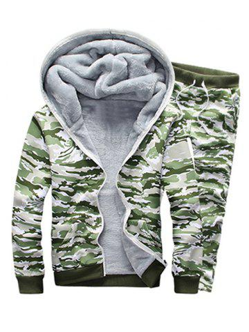 Hot Camo Flocking Hoodie and Drawstring Pants Twinset GREEN 5XL