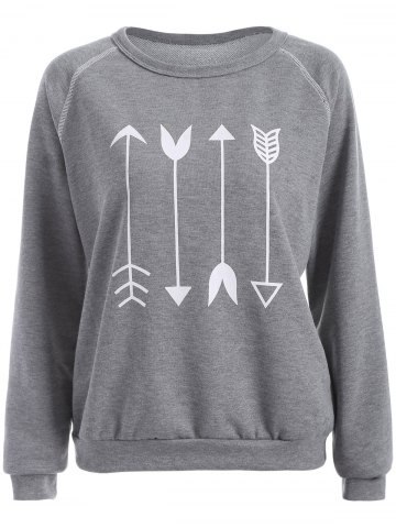 Unique Arrow Graphic Sweatshirt GRAY M