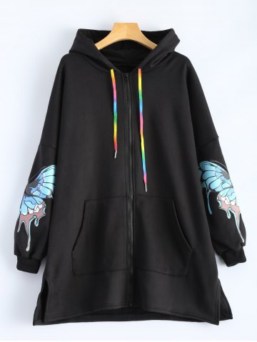 Shop Butterfly Print Pocket Design Zip Up Hooded Coat BLACK 2XL