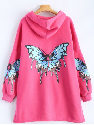 Chic Butterfly Print Pocket Design Zip Up Hooded Coat - 2XL ROSE MADDER Mobile