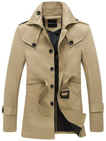 Unique Turndown Collar Single Breasted Epaulet Design Coat KHAKI 2XL