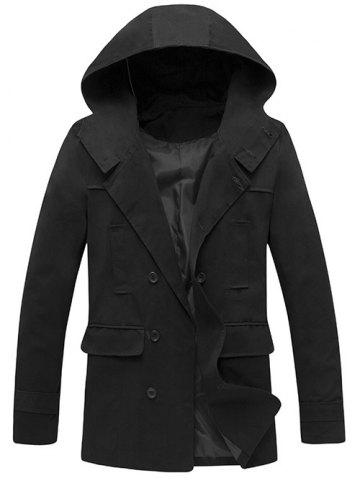 Cheap Hooded Double Breasted Back Slit Wind Coat