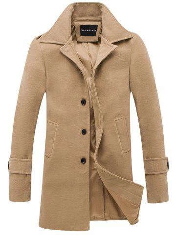 Buy Turndown Collar Single Breasted Wool Coat KHAKI XL