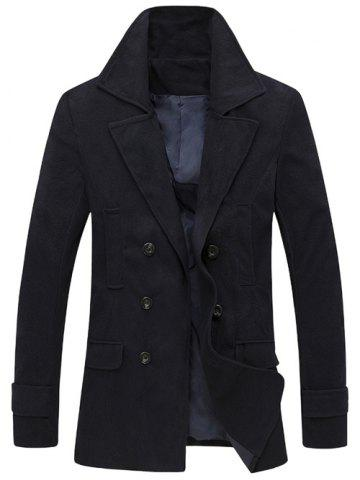 Outfits Turndown Collar Double Breasted Wool Coat CADETBLUE 2XL