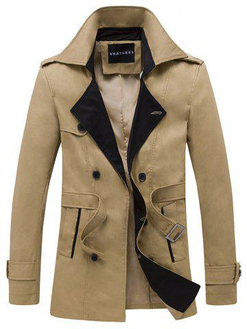 Fancy Double Breasted Belt Embellished Trench Coat KHAKI M