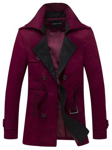 Hot Double Breasted Belt Embellished Trench Coat WINE RED L