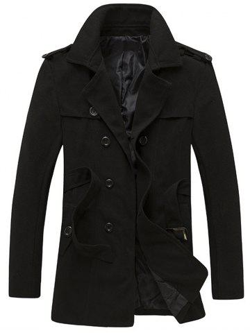 Cheap Epaulet and Belt Design Double Breasted Woolen Coat