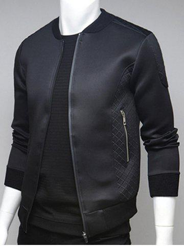 Best Argyle Splicing Stand Collar Zip Up Jacket - M BLACK Mobile
