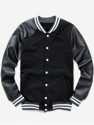 Color Block PU Leather Splicing Stand Collar Baseball Jacket - Black - M