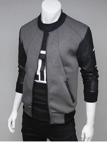 PU Leather Spliced Stand Collar Zip Up Jacket - Gray - L