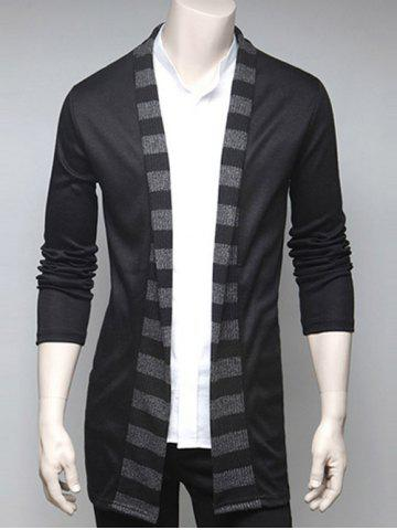 Affordable Stripe Design Turndown Collar Cardigan BLACK 2XL