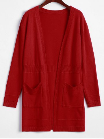 Cheap Pocket Design Solid Color Long Open Front Cardigan