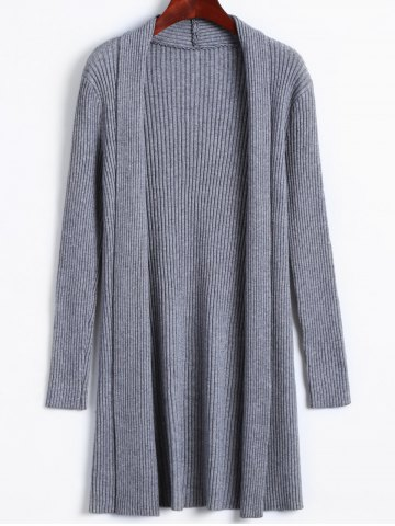 Latest Solid Color Long Open Front Knit Cardigan
