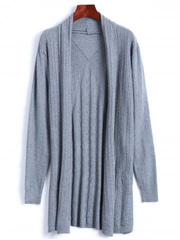 Fashion Solid Color Long Open Front Cable Knit Cardigan