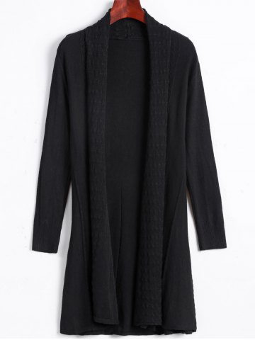 Unique Solid Color Long Open Front Fitted Cardigan