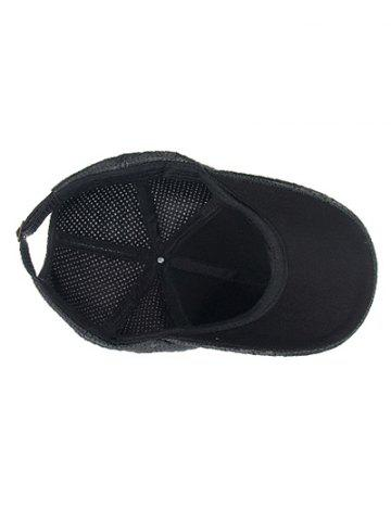 Shops Breathable PU Leather Small Holes Design Baseball Hat - BLACK  Mobile