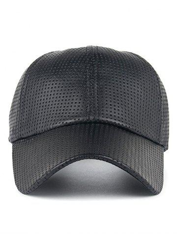 Best Breathable PU Leather Small Holes Design Baseball Hat - BLACK  Mobile