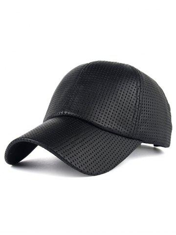 Hot Breathable PU Leather Small Holes Design Baseball Hat BLACK