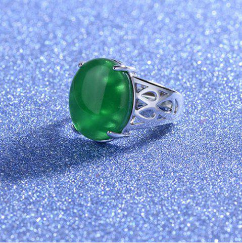 Affordable Natural Stone Geometric Ring - ONE-SIZE GREEN Mobile