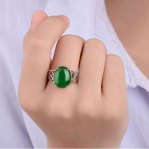 Discount Natural Stone Geometric Ring - ONE-SIZE GREEN Mobile