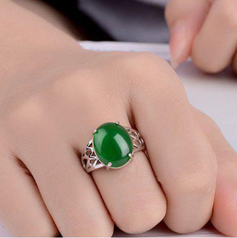 Natural Stone Geometric Ring - Green - One-size