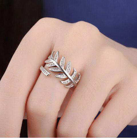 Affordable Rhinestoned Leaves Cuff Ring SILVER ONE-SIZE