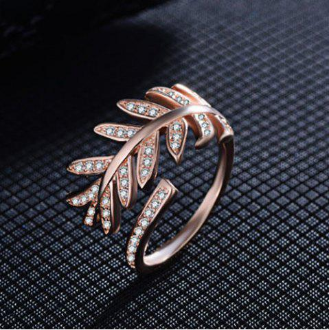 Best Rhinestoned Leaves Cuff Ring - ONE-SIZE ROSE GOLD Mobile