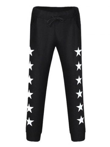 Trendy Drawstring Star Printed Jogger Pants BLACK 38
