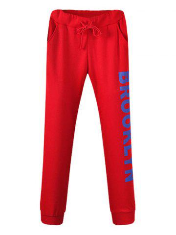 Fancy Drawstring Brooklyn Jogger Pants RED 38