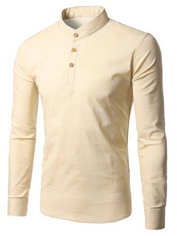 Online Half Button Cream Long Sleeve T-Shirt BEIGE 2XL