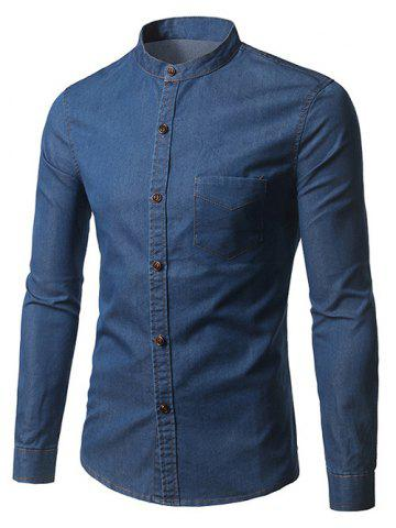 Affordable Long Sleeve Pocket Denim Fitted Shirt DEEP BLUE 3XL