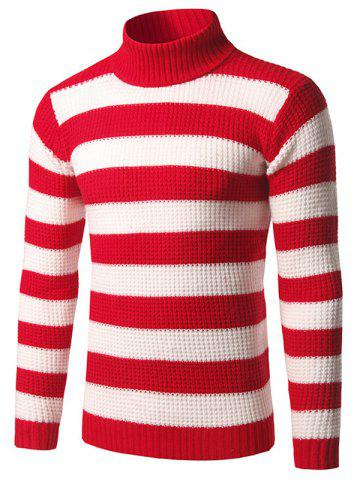 Discount Slim Fit Roll Neck Striped Sweater RED 3XL