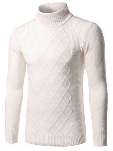 Outfits Slim Fit Roll Neck Rhombus Pattern Sweater WHITE 3XL