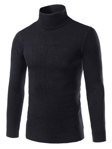 Trendy Slim Fit Roll Neck Pullover Sweater BLACK 3XL