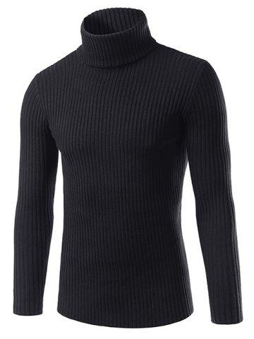 Latest Slim Fit Roll Neck Ribbed Knitted Sweater BLACK 3XL