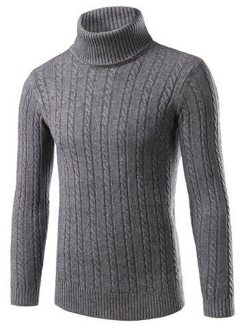 Chic Slim Fit Turtleneck Cable Knit Sweater