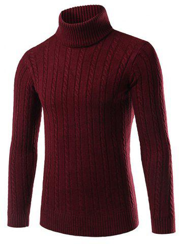 Slim Fit Turtleneck Cable Knit Sweater - Dark Red - 2xl
