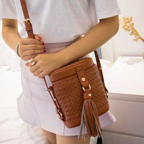 Latest Tassels Weave Cylinder Shape Crossbody Bag