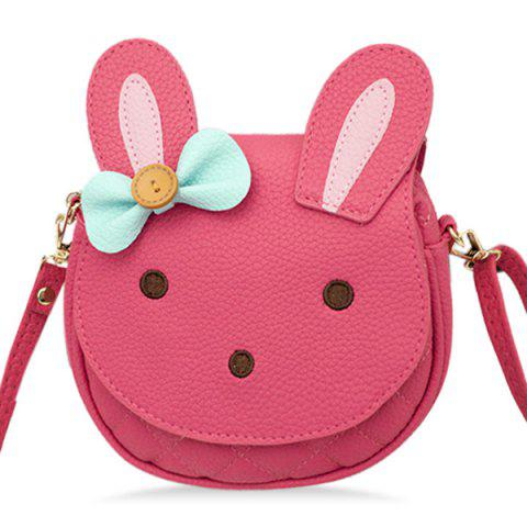 Colour Block Button Bow Crossbody Bag - Watermelon Red