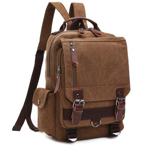 Cheap Double Buckle Pocket Zippers Backpack COFFEE