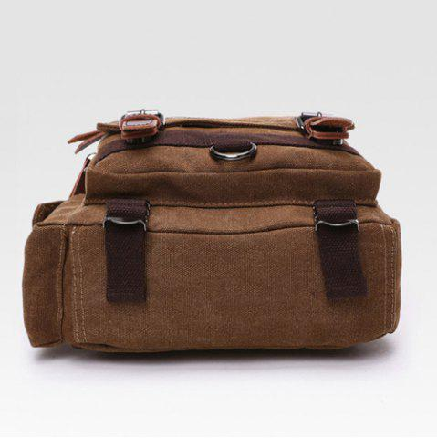 Trendy Double Buckle Pocket Zippers Backpack - COFFEE  Mobile