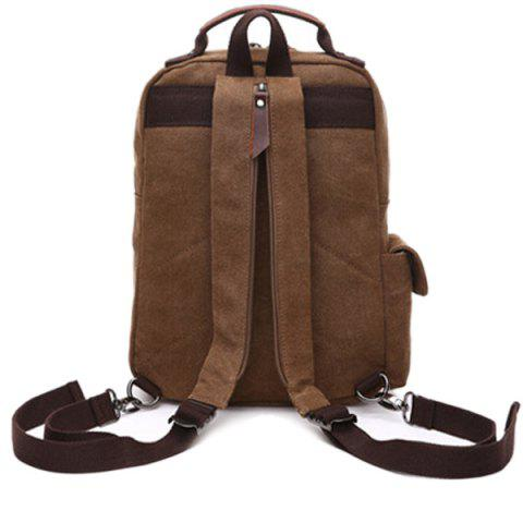 Outfit Double Buckle Pocket Zippers Backpack - COFFEE  Mobile