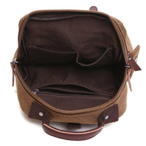 Fancy Double Buckle Pocket Zippers Backpack - COFFEE  Mobile