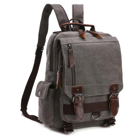 Fancy Double Buckle Pocket Zippers Backpack GRAY
