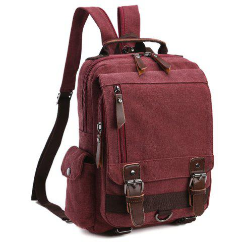 Trendy Double Buckle Pocket Zippers Backpack - CLARET  Mobile